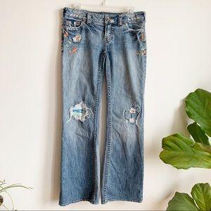 Silver Jeans Talia 29/33 Distressed BOHO Flared